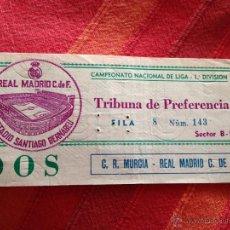 Coleccionismo deportivo: ENTRADA TICKET REAL MADRID MURCIA LIGA ESTADIO SANTIAGO BERNABEU. Lote 42213444