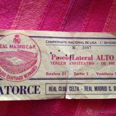 Coleccionismo deportivo: ENTRADA TICKET REAL MADRID CELTA LIGA ESTADIO SANTIAGO BERNABEU. Lote 42213462