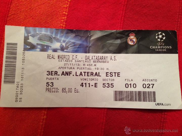 Coleccionismo deportivo: ENTRADA TICKET REAL MADRID GALATASARAY CHAMPIONS EUROPA LEAGUE 2013 2014 - Foto 1 - 42491601