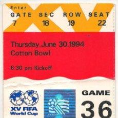 Coleccionismo deportivo: ENTRADA USADA MUNDIAL 1994 - ARGENTINA 0 - BULGARIA 2. Lote 43228965