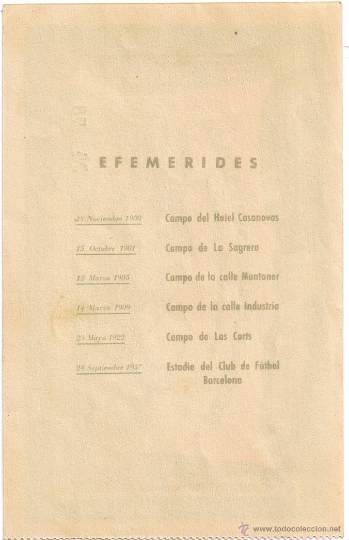 Coleccionismo deportivo: ENTRADA DE FUTBOL Nº 78 - C.F. BARCELONA - INAUGURACION ESTADIO - AÑO 1957 - FOTO ADICIONAL - Foto 2 - 43507018
