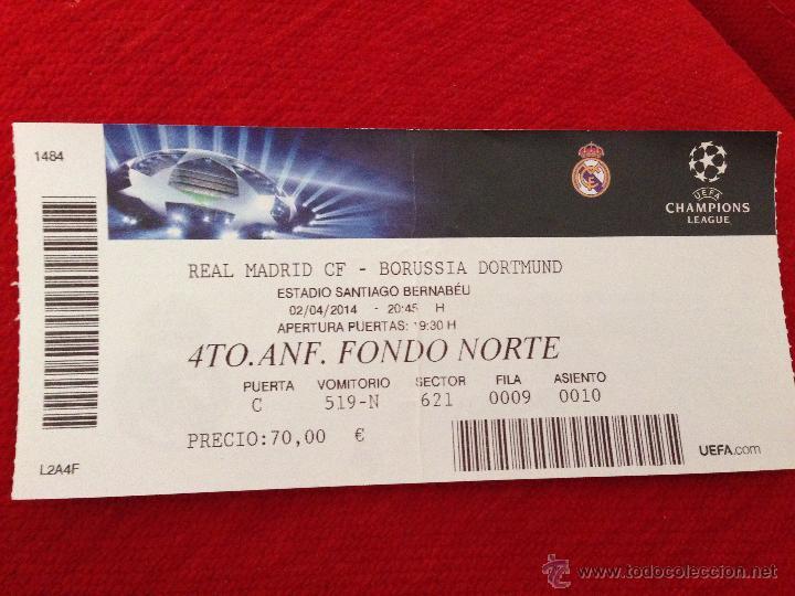ENTRADA TICKET REAL MADRID BORUSSIA DORTMUND UEFA CHAMPIONS 2013 2014 (Coleccionismo Deportivo - Documentos de Deportes - Entradas de Fútbol)