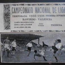 Coleccionismo deportivo: ENTRADA FÚTBOL 1935-1936 OVIEDO-VALENCIA NUEVA TRIBUNA 3 PESETAS 35/36 AÑOS 30 REPÚBLICA. Lote 181576987
