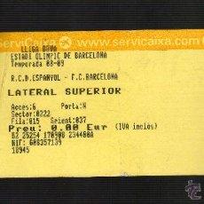Coleccionismo deportivo: ENTRADA RCD ESPANYOL / FC. BARCELONA (TEMPORADA 2008-09). Lote 45610267