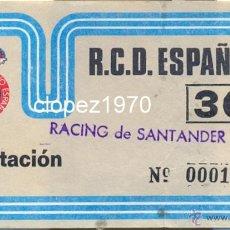 Coleccionismo deportivo: R.C.D. ESPAÑOL, 1988, ENTRADA PARTIDO ESPAÑOL - RACING SANTANDER, INVITACION. Lote 46026447