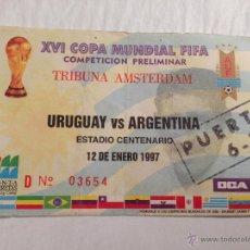 Coleccionismo deportivo: ENTRADA TICKET URUGUAY ARGENTINA XVI COPA MUNDIAL FIFA 1997 ESTADIO CENTENARIO. Lote 46101919