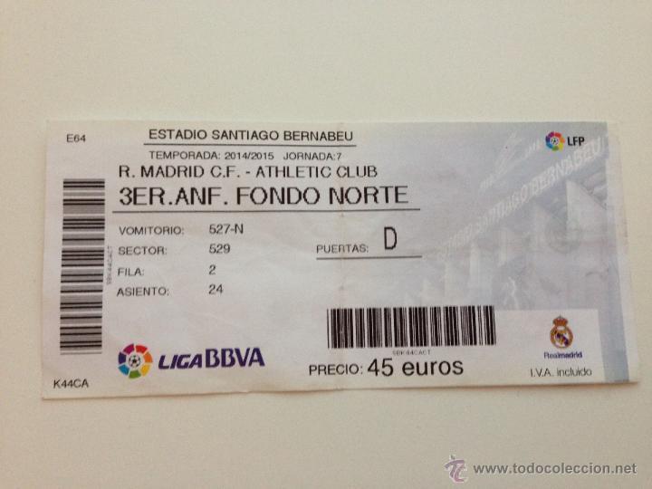 Entrada Ticket Real Madrid Athletic Bilbao Temp Kaufen Alte Fußball Tickets In Todocoleccion 46281933