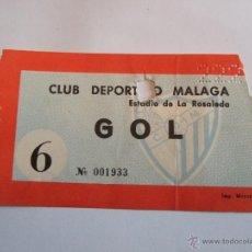 Coleccionismo deportivo: ENTRADA FUTBOL - ESTADIO DE LA ROSALEDA - CLUB DEPORTIVO MALAGA. Lote 46456321