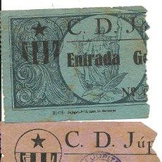 Coleccionismo deportivo: (F-053)LOTE DE 2 ENTRADA DEL C.D.JUPITER AÑOS 30,CARICATURAS EN EL REVERSO. Lote 47224677