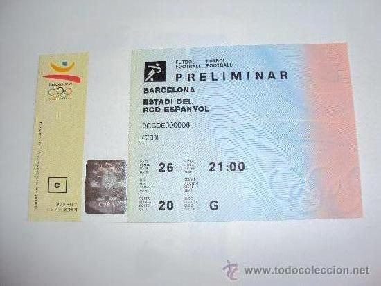 RCD ESPANYOL . ESTADI DE SARRIA .JJOO BARCELONA 92 (Coleccionismo Deportivo - Documentos de Deportes - Entradas de Fútbol)