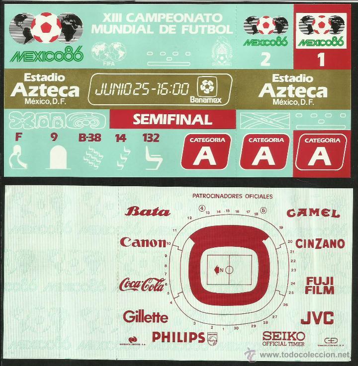 ENTRADA TICKET SEMIFINAL COPA MUNDIAL DE FUTBOL MEXICO 86- ESTADIO AZTECA- ARGENTINA- BELGICA- FIFA (Coleccionismo Deportivo - Documentos de Deportes - Entradas de Fútbol)