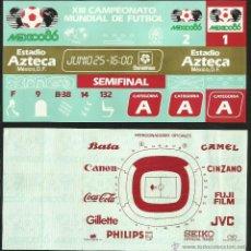 Coleccionismo deportivo: ENTRADA TICKET SEMIFINAL COPA MUNDIAL DE FUTBOL MEXICO 86- ESTADIO AZTECA- ARGENTINA- BELGICA- FIFA. Lote 48980897