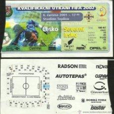 Coleccionismo deportivo: ENTRADA PARTIDO CLASIFICATORIO MUNDIAL DE FUTBOL JAPON COREA 2002- REPUBLICA CHECA 3 IRLANDA 1- FIFA. Lote 48807962