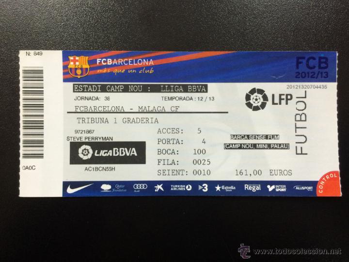 ENTRADA ENTERA FC BARCELONA - MALAGA CF LIGA 2012 2013 CAMP NOU TICKET. ( 2cfbebc06728f