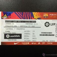 Coleccionismo deportivo: ENTRADA ENTERA FC BARCELONA - SEVILLA FC LIGA 2013-2014 CAMP NOU TICKET.. Lote 49077532