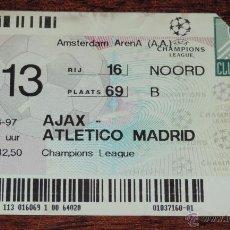 Coleccionismo deportivo: ENTRADA FUTBOL AJAX VS ATLETICO DE MADRID, CHAMPIONS LEAGUE 1996 / 1997, MIDE 12,5 X 8,2 CMS.. Lote 49520432