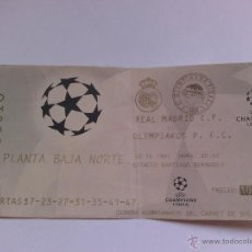 Coleccionismo deportivo: ENTRADA DE FUTBOL REAL MADRID COMPETICIÓN EUROPEA R MADRID OLYMPIAKOS 1997. Lote 49757127