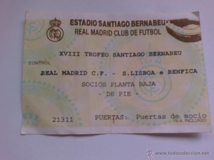 ENTRADA DE FUTBOL REAL MADRID COMPETICIÓN EUROPEA R MADRID S LISBOA (Coleccionismo Deportivo - Documentos de Deportes - Entradas de Fútbol)