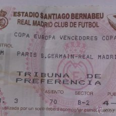 Coleccionismo deportivo: ENTRADA DE FUTBOL REAL MADRID COMPETICIÓN EUROPEA R MADRID PARIS S GERMAIN. Lote 49757347