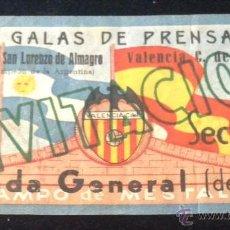 Coleccionismo deportivo: ENTRADA DEL PARTIDO CLUB SAN LORENZO DE ALMAGRO VALENCIA C. F. CAMPO DE MESTALLA 22 ENERO 1947. Lote 50121289