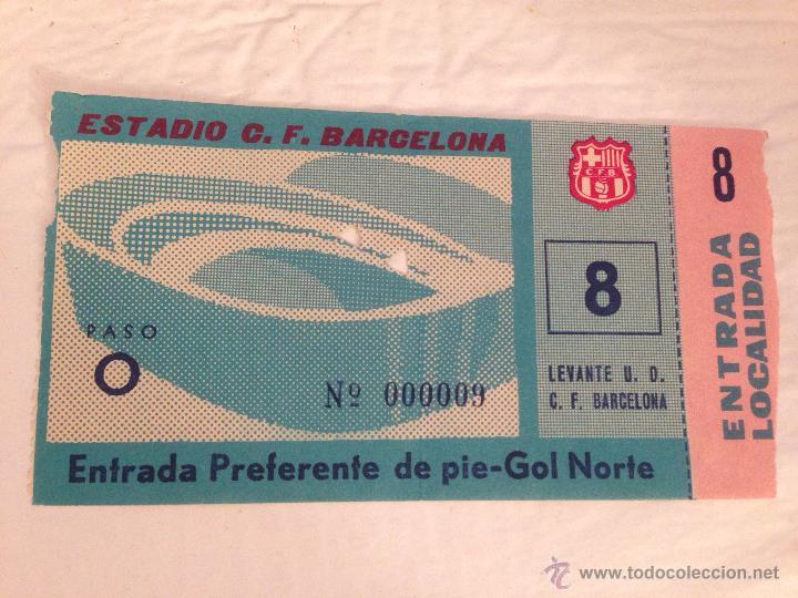 R408 ENTRADA TICKET BARCELONA LEVANTE LIGA TEMPORADA 1963 1964 (Coleccionismo Deportivo - Documentos de Deportes - Entradas de Fútbol)