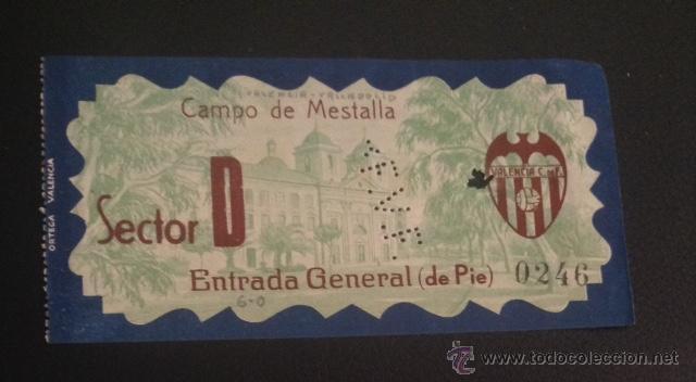 ENTRADA CAMPO DE MESTALLA FUTBOL VALENCIA VALLADOLID COPA 24 ABRIL DE 1933 (Coleccionismo Deportivo - Documentos de Deportes - Entradas de Fútbol)