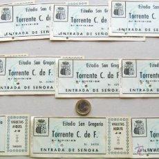 Coleccionismo deportivo: LOTE 11 ENTRADAS IGUALES FUTBOL TORRENTE CF VALENCIA TORRENT ORIGINALES ENTRADA L/1 . Lote 51980075