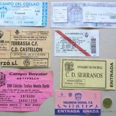 Coleccionismo deportivo: LOTE 20 ENTRADAS FUTBOL COMUN. VALENCIA VARIOS EQUIPOS, ORIGINALES, ENTRADA CF L/4 . Lote 51980286