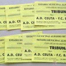 Coleccionismo deportivo: LOTE 10 ENTRADAS AD CEUTA - FC BARCELONA COPA REY FUTBOL 3-1-2001 ORIGINALES ENTRADA L/9 . Lote 51980891