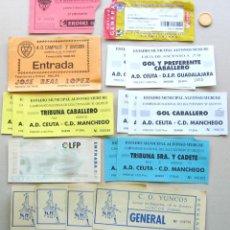 Coleccionismo deportivo: LOTE 18 ENTRADAS CASTILLA LA MANCHA CD GUADALAJARA MANCHEGO ETC FUTBOL ORIGINALES ENTRADA L/13 . Lote 51981143