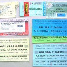 Coleccionismo deportivo: LOTE 10 ENTRADAS REG. MURCIA CF REAL CARGAGENA FC CIUDAD DE M. ETC FUTBOL ORIGINALES ENTRADA L/15. Lote 51981267