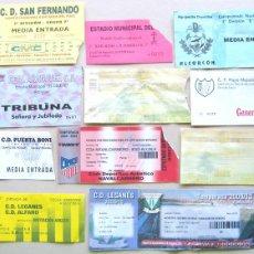 Coleccionismo deportivo: LOTE 11 ENTRADAS DE MADRID FUTBOL CD LEGANES AD ALCORCON ARANJUEZ CF ETC ORIGINALES ENTRADA L/16 . Lote 51981308