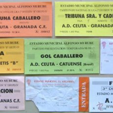 Coleccionismo deportivo: LOTE 29 ENTRADAS FUTBOL ANDALUCIA CORDOBA CF XEREZ CD AD CEUTA ETC ORIGINALES ENTRADA L/21 . Lote 51981597