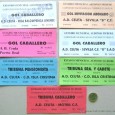 Coleccionismo deportivo: LOTE 28 ENTRADAS FUTBOL ANDALUCIA AD CEUTA ECIJA RECREATIVO HUELVA LINARES ORIGINALES ENTRADA L/22. Lote 51981679