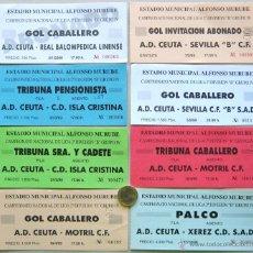 Coleccionismo deportivo: LOTE 28 ENTRADAS FUTBOL ANDALUCIA AD CEUTA CADIZ CF POLI EJIDO AT MARBELLA ORIGINALES ENTRADA L/23. Lote 51981745