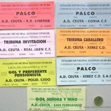 Coleccionismo deportivo: LOTE 19 ENTRADAS FUTBOL AD CEUTA VS DIFERENTES RIVALES ORIGINALES ENTRADA L/26. Lote 198792072