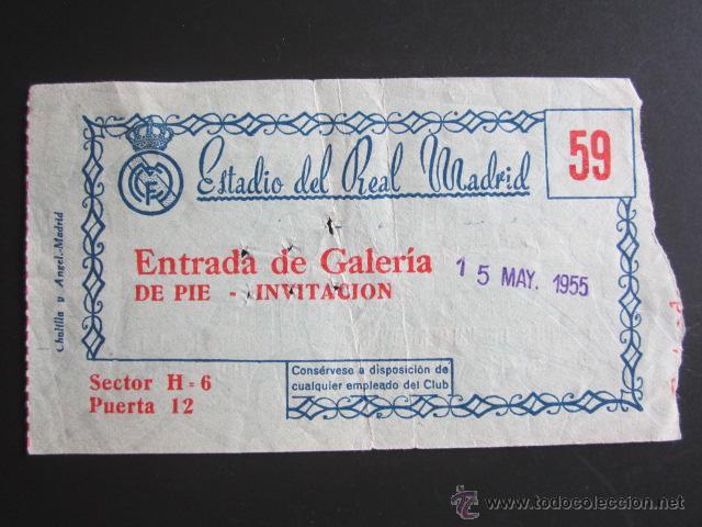 ENTRADA DE FÚTBOL REAL MADRID. AÑO 1955 (Coleccionismo Deportivo - Documentos de Deportes - Entradas de Fútbol)