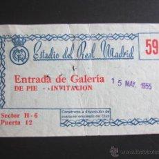 Coleccionismo deportivo: ENTRADA DE FÚTBOL REAL MADRID. AÑO 1955. Lote 52296777
