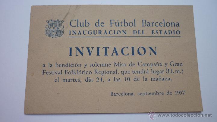 Cf Barcelona Tarjeta Invitacion Inauguración D Vendido En