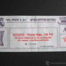 Coleccionismo deportivo: ENTRADA DE FÚTBOL REAL MADRID. SANTIAGO BERNABEU. COMPETICIÓN EUROPEA. ENTRADA SOCIOS. . Lote 52383959