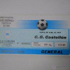 Coleccionismo deportivo: ENTRADA LOGROÑES - C.D. CASTELLON. TEMPORADA 87/88. LAS GAUNAS. 1987. TDKP6. Lote 52735005