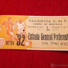 Coleccionismo deportivo: R122 ENTRADA TICKET VALENCIA CORDOBA LIGA TEMPORADA 1963 1964. Lote 52849777
