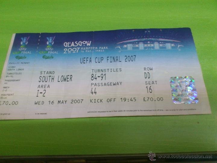 ENTRADA SEVILLA - ESPANYOL DE BARCELONA (FINAL COPA DE LA UEFA 2007) EN GLASGOW (Coleccionismo Deportivo - Documentos de Deportes - Entradas de Fútbol)
