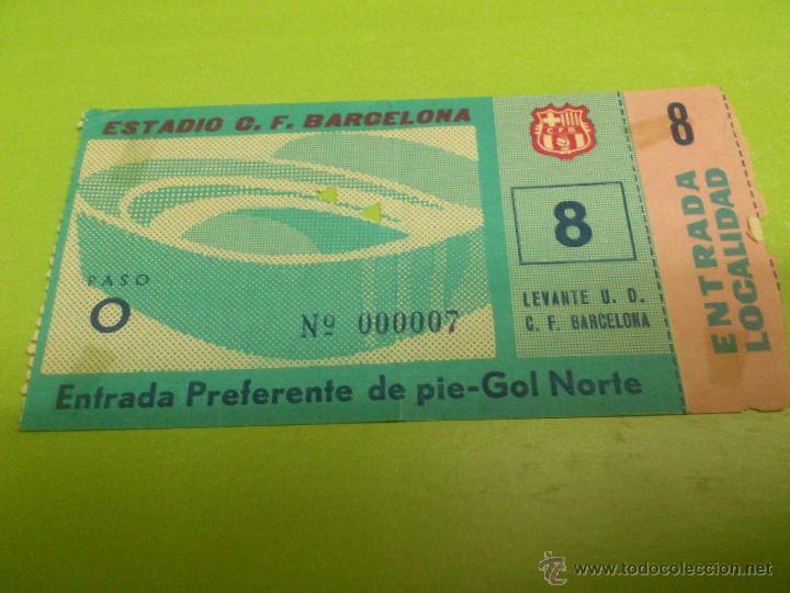 ENTRADA F.C. BARCELONA - LEVANTE 1963-1964 (1 MARZO 1964, RESULTADO 6-2) (Coleccionismo Deportivo - Documentos de Deportes - Entradas de Fútbol)