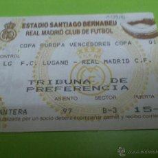 Coleccionismo deportivo: ENTRADA REAL MADRID - LUGANO 1993-1994 (RECOPA - COPA DE EUROPA DE VENCEDORES DE COPA). Lote 52946889