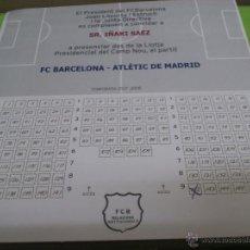 Coleccionismo deportivo: ENTRADA PRESIDENCIAL F.C. BARCELONA - ATLETICO DE MADRID 2007-2008. LOCALIDAD PARA IÑAKI SAEZ. Lote 52947243