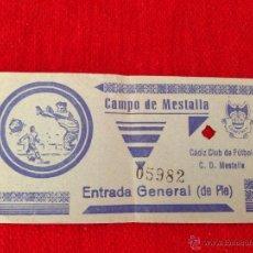 Coleccionismo deportivo: R6 ENTRADA TICKET MESTALLA VALENCIA CADIZ AÑOS 60. Lote 53449858
