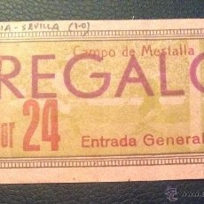 Coleccionismo deportivo: ENTRADA FUTBOL DEL PARTIDO VALENCIA-SEVILLA 1 FEBRERO DE 1953 MESTALLA . Lote 53616326