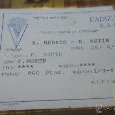Coleccionismo deportivo: ENTRADA PARTIDO DE FUTBOL CADIZ - BETIS - ESTADIO RAMON CARRANZA - AÑO 1997. Lote 53750470