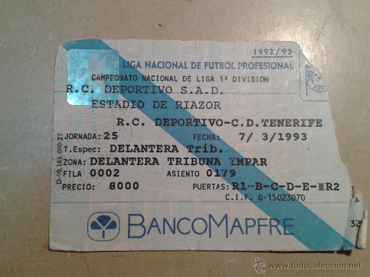 ENTRADA DEPORTIVO-TENERIFE 1993 ESTADIO RIAZOR (Coleccionismo Deportivo - Documentos de Deportes - Entradas de Fútbol)